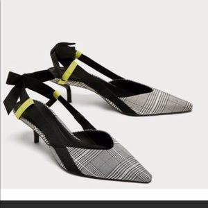 Zara Checkered Ladies kitten heel sandals